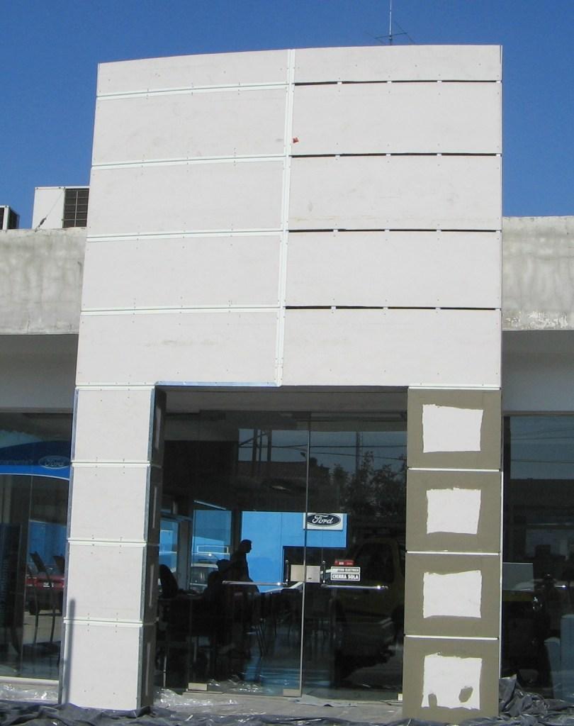 construccion en seco con placa superboard fachada
