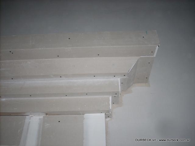 columna y cornisa con placa durlock detalle