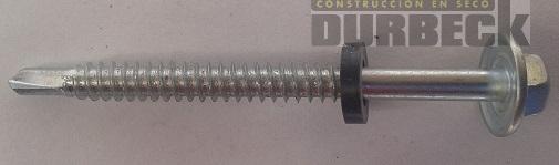Tornillo HEX T2 rosc. chapa 14 x 4 punta mecha con Arandela Durbeck-Durlock-construccion-en-seco175